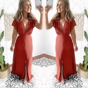 Harmony Coral Cut Out Maxi Dress, Free Shipping